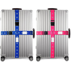 ✅ Heavy Duty Luggage Cross Strap Suitcase Belts - with Personalised Baggage Claim Identifier Address Label (Blue + Pink) - One-Wear