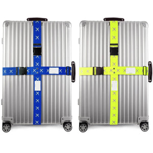 OW Travel Personalised Luggage Case Cross Straps for suitcases and luggage - Planes Blue + Yellow 2 Pack - Heavy Duty Extendable Cross Luggage Strap