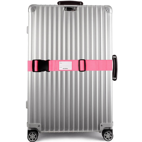 OW Travel Personalised Luggage Case Straps For Suitcases And Luggage Travel Accessories - Pink - Suitcase with Brightly Coloured Luggage Strap