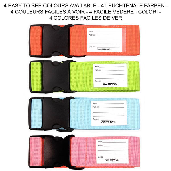 ✅ 4 Colour - Heavy Duty Luggage Strap Suitcase Belts with Personalised Baggage Claim Identifier Address Label - One-Wear