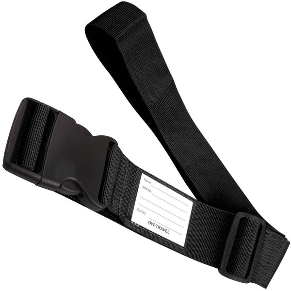✅ Heavy Duty Luggage Strap Suitcase Belts - with Personalised Baggage Claim Identifier Address Label (Black) - One-Wear