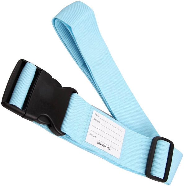 OW Travel Personalised Luggage Case Straps For Suitcases and Luggage Travel Accessories - Blue - Extendable Long Universal Luggage Straps