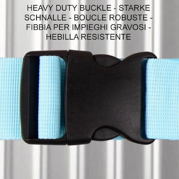 ✅ Heavy Duty Luggage Strap Suitcase Belts - with Personalised Baggage Claim Identifier Address Label (Bright Blue) - One-Wear