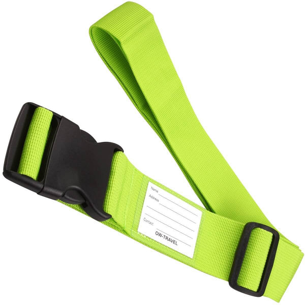 OW Travel Personalised Luggage Case Straps For Suitcases and Luggage Travel Accessories - Green - Extendable Long Universal Luggage Straps