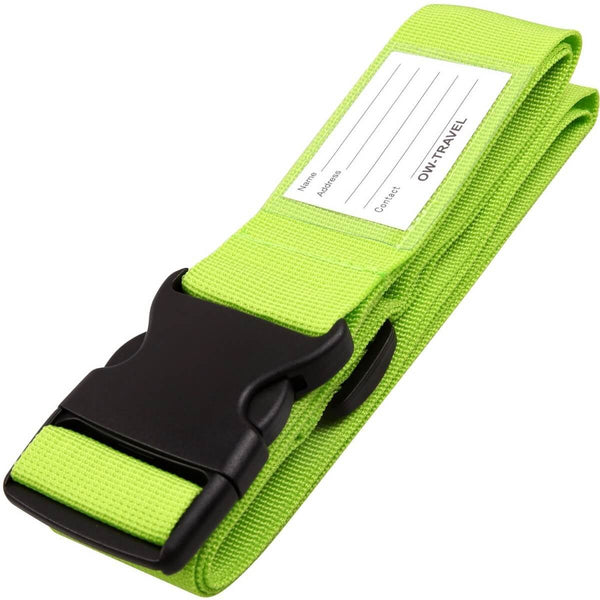 ✅ Heavy Duty Luggage Strap Suitcase Belts - with Personalised Baggage Claim Identifier Address Label (Bright Green) - One-Wear