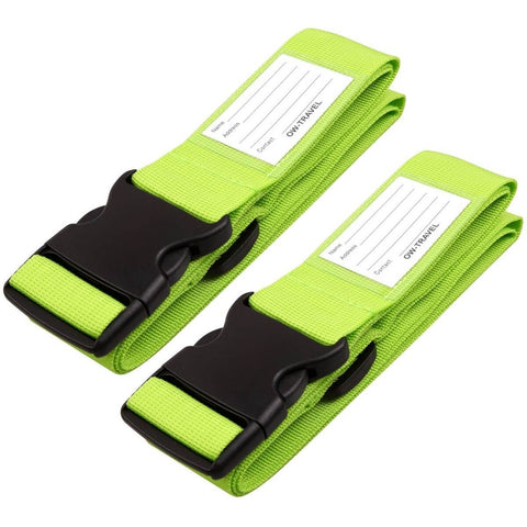 OW Travel Personalised Luggage Case Straps For Suitcases and Luggage Travel Accessories - Green 2 Pack - Heavy Duty Luggage Straps