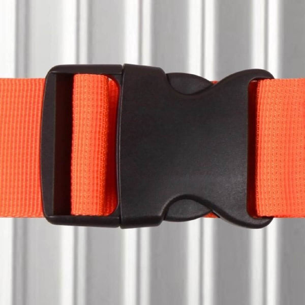 ✅ Heavy Duty Luggage Strap Suitcase Belts - with Personalised Baggage Claim Identifier Address Label (Bright Orange) - One-Wear