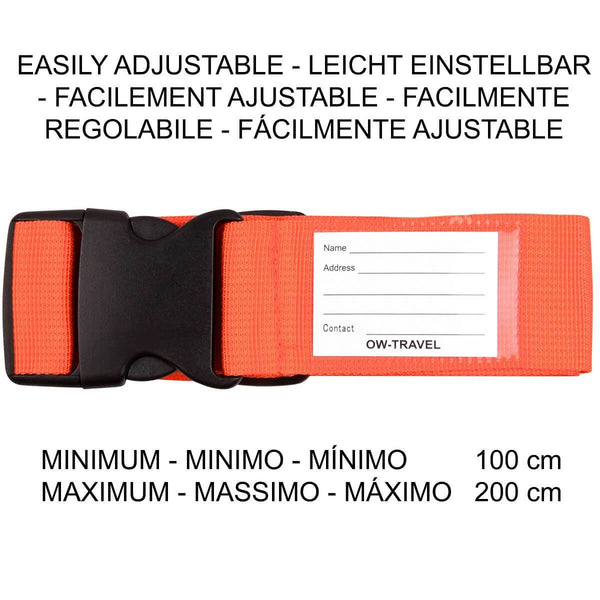 OW Travel Personalised Luggage Case Straps For Suitcases and Luggage Travel Accessories - Orange - Easily Adjustable Heavy Duty Luggage Straps