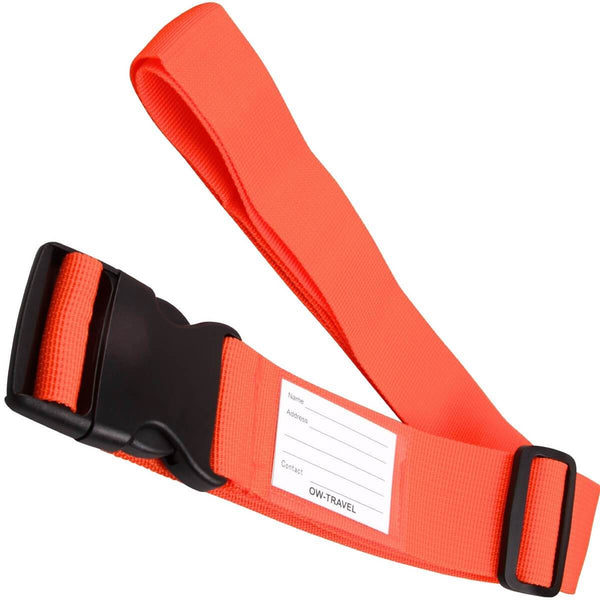 OW Travel Personalised Luggage Case Straps For Suitcases and Luggage Travel Accessories - Orange - Extendable Long Universal Luggage Straps