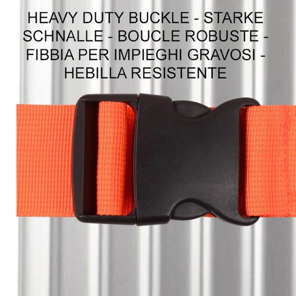 OW Travel Personalised Luggage Case Straps For Suitcases and Luggage Travel Accessories - Orange - Heavy Duty ABS Plastic Buckle Closure