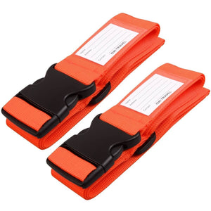 OW Travel Personalised Luggage Case Straps For Suitcases and Luggage Travel Accessories - Orange 2 Pack - Heavy Duty Luggage Straps