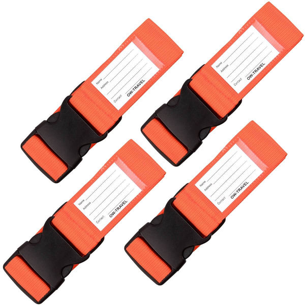 OW Travel Personalised Luggage Case Straps For Suitcases and Luggage Travel Accessories - Orange  4 Pack - Heavy Duty Luggage Straps