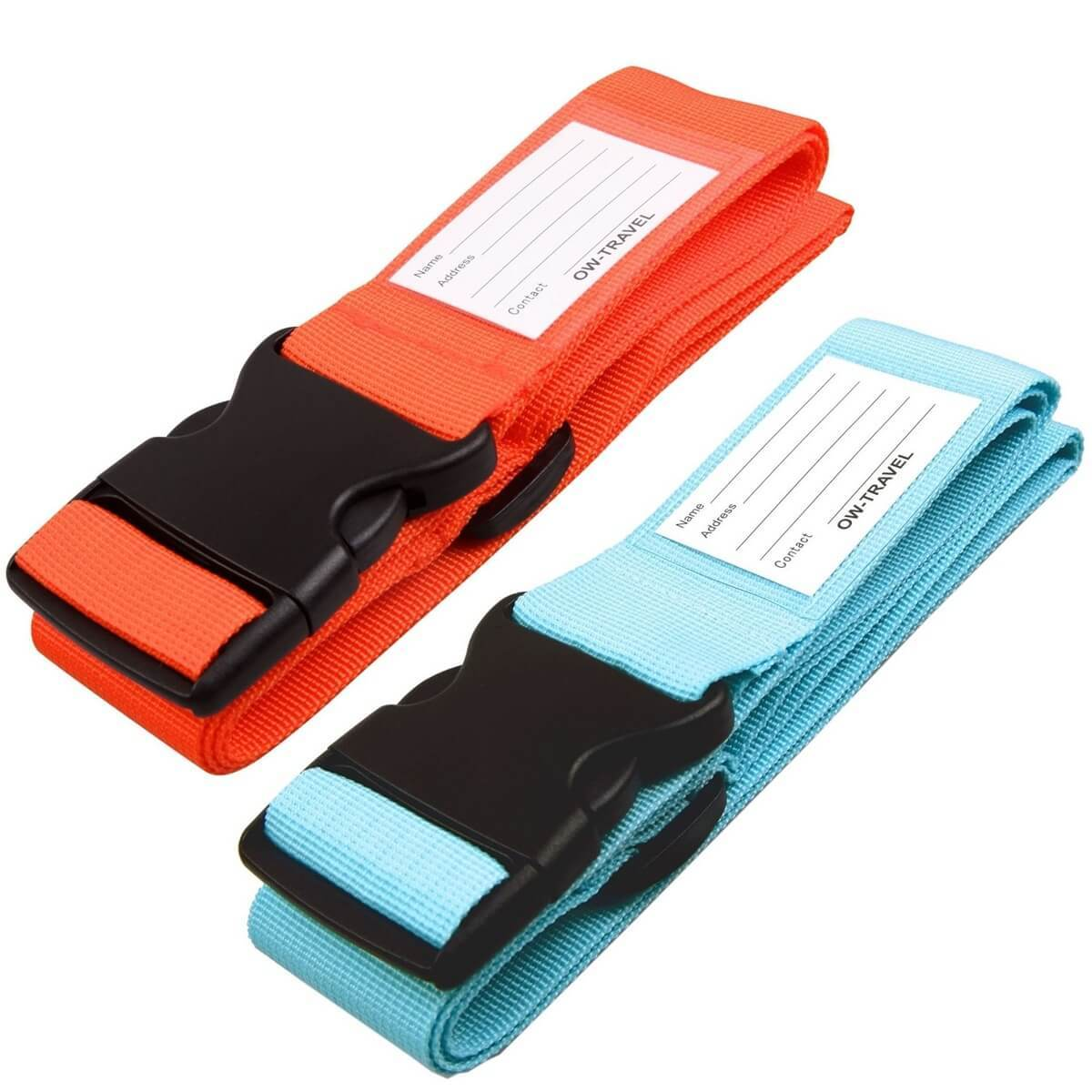 ✅ Heavy Duty Luggage Strap Suitcase Belts - with Personalised Baggage Claim Identifier Address Label (Bright Orange + Bright Blue) - One-Wear