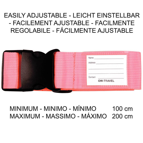 ✅ Heavy Duty Luggage Strap Suitcase Belts - with Personalised Baggage Claim Identifier Address Label (Bright Pink) - One-Wear