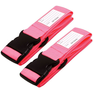 OW Travel Personalised Luggage Case Straps For Suitcases and Luggage Travel Accessories - Pink 2 Pack - Heavy Duty Luggage Straps