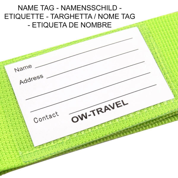 OW Travel Personalised Luggage Case Straps for Suitcases and Luggage Travel Accessories - Green - Personalised ID Card and Address Label Luggage Strap