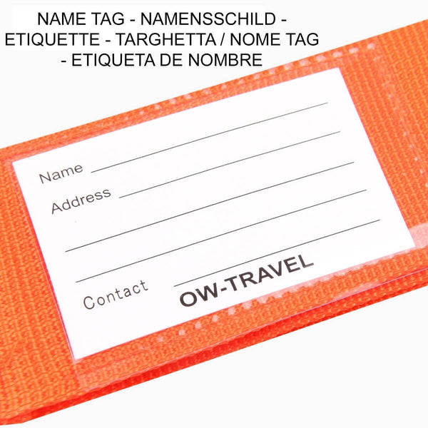 OW Travel Personalised Luggage Case Straps for Suitcases and Luggage Travel Accessories - Orange + Blue 2 Pack - Personalised ID Card and Address Label Luggage Strap