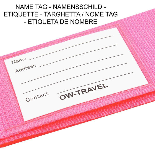 OW Travel Personalised Luggage Case Straps for Suitcases and Luggage Travel Accessories - Pink - Personalised ID Card and Address Label Luggage Strap