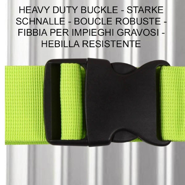OW Travel Personalised Luggage Case Straps for Suitcases and Luggage Travel Accessories - Pink + Green 2 Pack - Heavy Duty ABS Plastic Buckle Closure