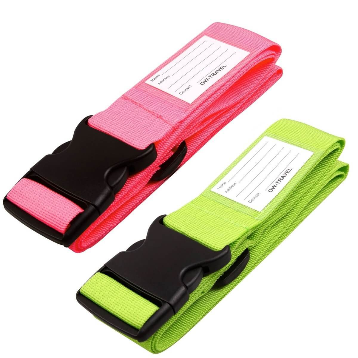 ✅ Heavy Duty Luggage Strap Suitcase Belts - with Personalised Baggage Claim Identifier Address Label (Bright Pink + Bright Green) - One-Wear