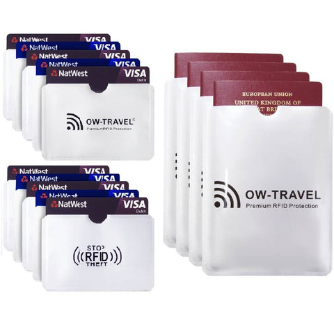 OW Travel RFID Blocking Credit Card Protector Sleeves Contactless Card Protection Holders Identity Theft Protection - 10 Credit Card + 4 Passport Sleeves Horizontal Silver -  Premium Quality