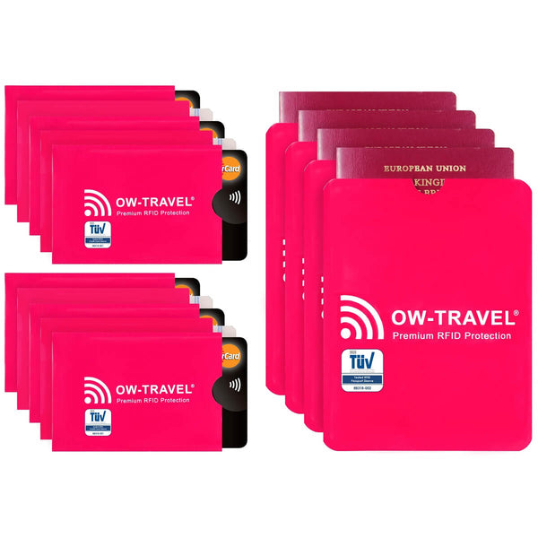OW Travel RFID Blocking Credit Card Protector Sleeves Contactless Card Protection Holders Identity Theft Protection - 10 Credit Card + 4 Passport Sleeves Pink - RFID Premium Quality Sleeves