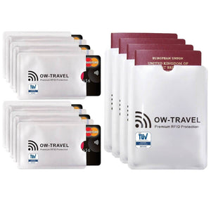 OW Travel RFID Blocking Credit Card Protector Sleeves Contactless Card Protection Holders Identity Theft Protection - 10 Credit Card + 4 Passport Sleeves Silver - Premium Quality RFID Sleeves