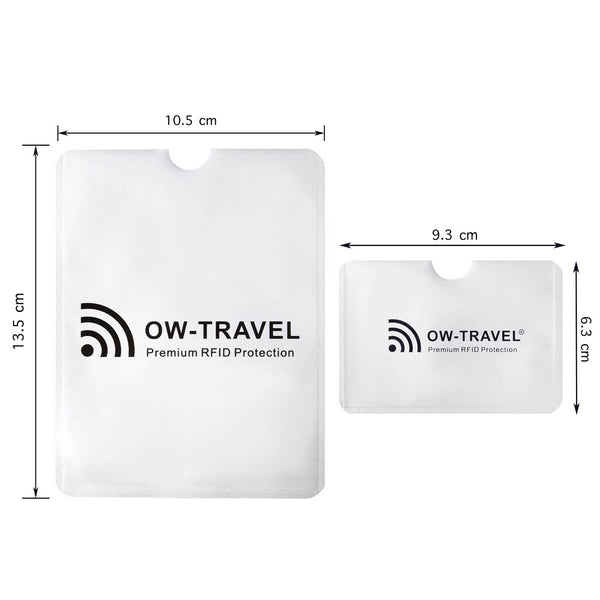 OW Travel RFID Blocking Credit Card Protector Sleeves Contactless Card Protection Holders Identity Theft Protection - CC Horizontal Silver - RFID Sleeves for Card and Passport Dimensions