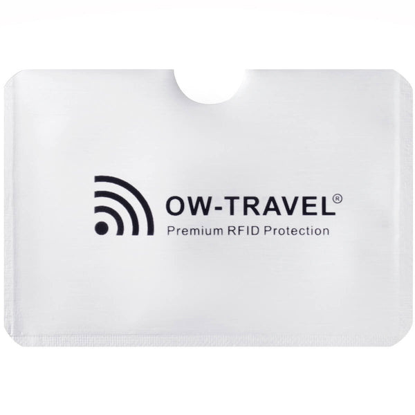 OW Travel RFID Blocking Credit Card Protector Sleeves Contactless Card Protection Holders Identity Theft Protection - CC Sleeve Horizontal Silver - Advanced High Grade Aluminium RFID Sleeves