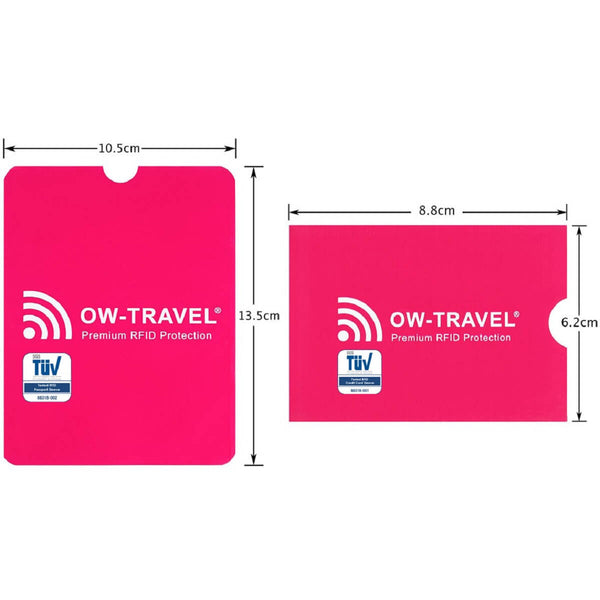 OW Travel RFID Blocking Credit Card Protector Sleeves Contactless Card Protection Holders Identity Theft Protection - Credit Card Passport Sleeves Pink - RFID Sleeves for Card and Passport Dimensions