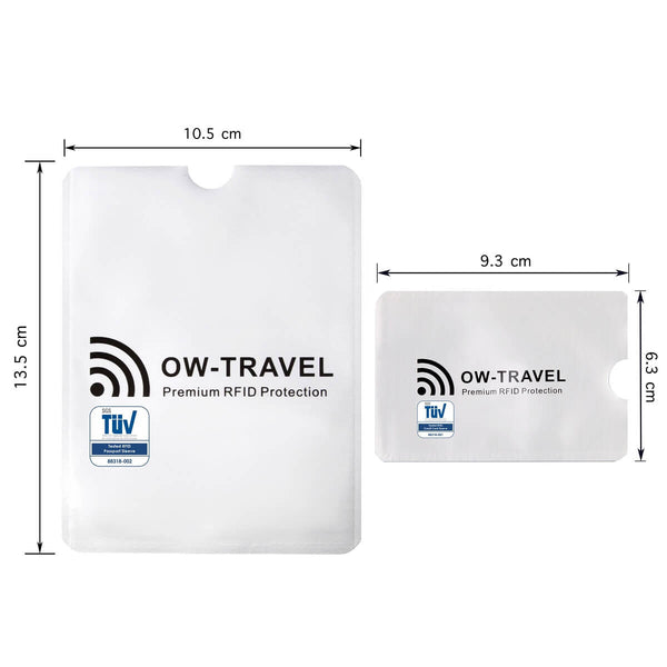 OW Travel RFID Blocking Credit Card Protector Sleeves Contactless Card Protection Holders Identity Theft Protection - Passport Silver - RFID Sleeves for Card and Passport Dimension