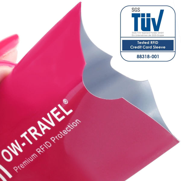 ✅ TÜV Approved RFID & NFC Blocking Credit Card + Passport Protector Sleeves - Identity Theft Protection for Contactless Cards - One-Wear