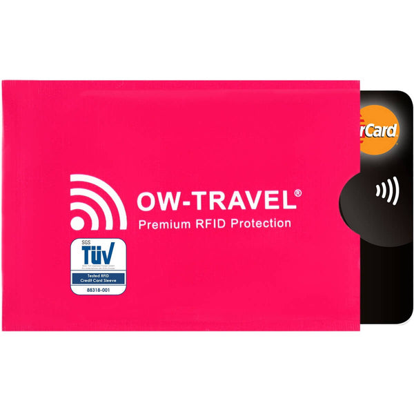 OW Travel RFID Blocking Credit Card Protector Sleeves Contactless Card Protection Holders Identity Theft Protection - Credit Card Sleeves Pink 1 Pack - RFID Premium Quality Card Sleeves