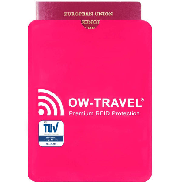 OW Travel RFID Blocking Credit Card Protector Sleeves Contactless Card Protection Holders Identity Theft Protection - Passport Sleeves Pink 1 Pack - RFID Premium Quality Passport Sleeves