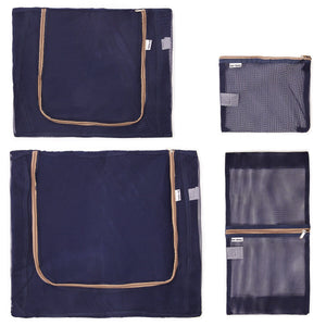 OW Travel Suitcase Packing Cubes Luggage Organisers for Clothes Bags and Wardrobes - Blue Mesh - See Through Mesh Panels Easier To Organise Mesh Bag