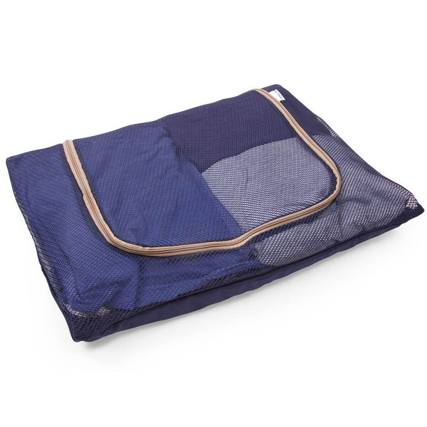 OW Travel Suitcase Packing Cubes Luggage Organisers for Clothes Bags and Wardrobes - Blue Mesh - Space Saving Mesh Bag