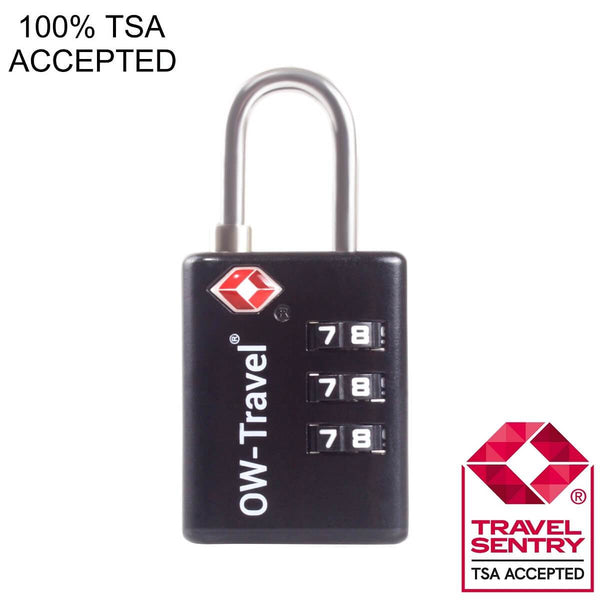 OW Travel TSA Approved Padlocks Luggage Case Locks For Suitcases, Backpacks, Gym Locker - 3 Dial Search Alert Padlock Black - TSA Approved Code 3 Dial Search Alert Padlock