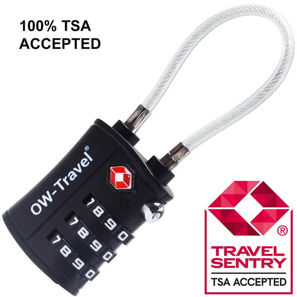 OW Travel TSA Approved Padlocks Luggage Case Locks for Suitcases, Backpacks, Gym Locker - 3 Dial Combination Cable Padlock Black - TSA Approved Code 3 Dial Cable Padlock