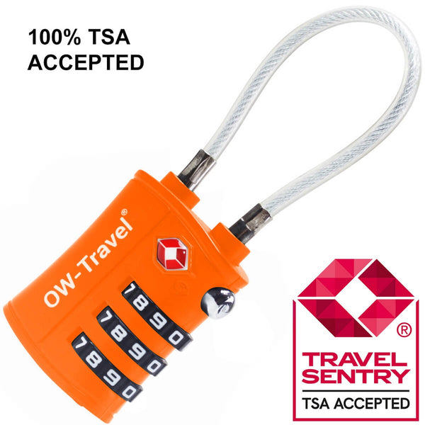 OW Travel TSA Approved Padlocks Luggage Case Locks for Suitcases, Backpacks, Gym Locker - 3 Dial Combination Cable Padlock Orange - TSA Approved Code 3 Dial Cable Padlock
