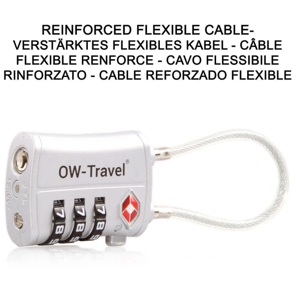 OW Travel TSA Approved Padlocks Luggage Case Locks for Suitcases, Backpacks, Gym Locker - 3 Dial Combination Cable Padlock Silver - Reinforced Flexible Cable 3 Dial Padlock