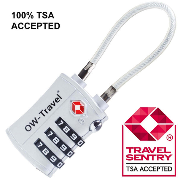 OW Travel TSA Approved Padlocks Luggage Case Locks for Suitcases, Backpacks, Gym Locker - 3 Dial Combination Cable Padlock Silver - TSA Approved Code 3 Dial Cable Padlock