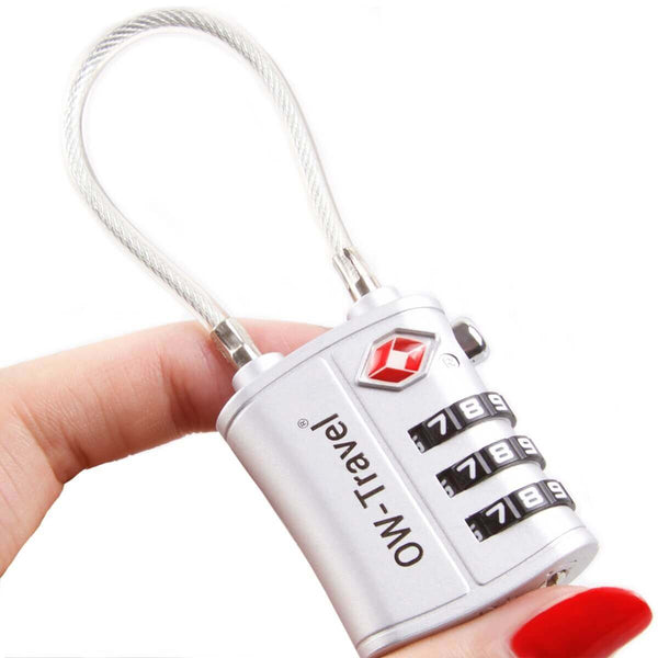 OW Travel TSA Approved Padlocks Luggage Case Locks for Suitcases, Backpacks, Gym Locker - 3 Dial Combination Cable Padlock Silver - Won't Jam Easy Move Dials 3 Dial Cable Padlock