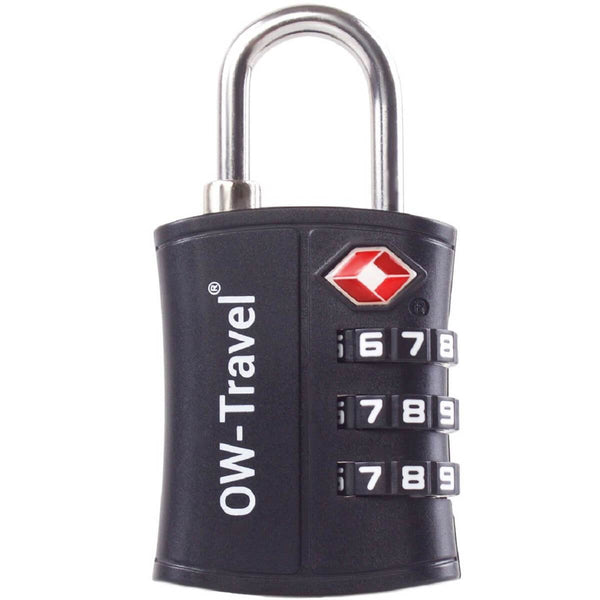 OW Travel TSA Approved Padlocks Luggage Case Locks for Suitcases, Backpacks, Gym Locker - 3 Dial Padlock Black - Bigger Numbers Quickly Reset Pass Code