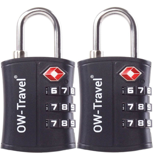 OW Travel TSA Approved Padlocks Luggage Case Locks for Suitcases, Backpacks, Gym Locker - 3 Dial Padlock Black - Reliable 3 Dial Padlock