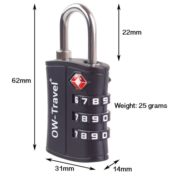 OW Travel TSA Approved Padlocks Luggage Case Locks for Suitcases, Backpacks, Gym Locker - 3 Dial Padlock Black + 3 Luggage Tags  - 3 Dial Padlock Dimensions