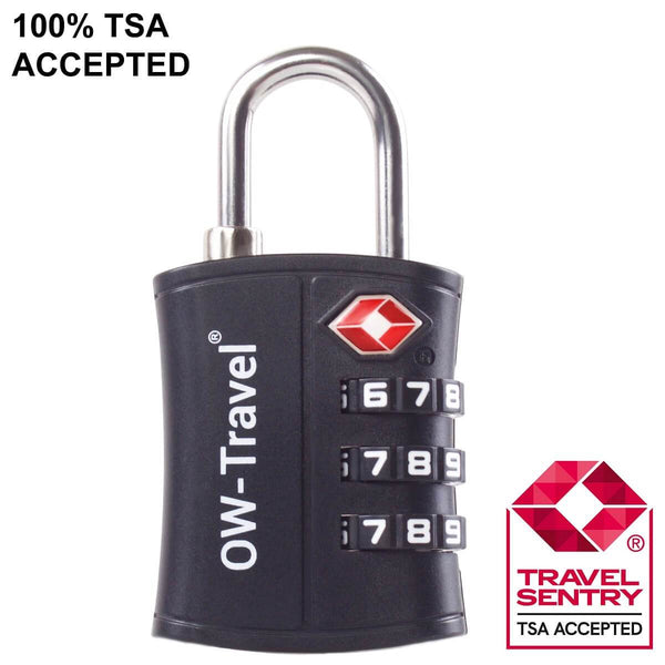 OW Travel TSA Approved Padlocks Luggage Case Locks for Suitcases, Backpacks, Gym Locker - 3 Dial Padlock Black + 3 Luggage Tags - TSA Approved Code 3 Dial Padlock + Luggage Tags