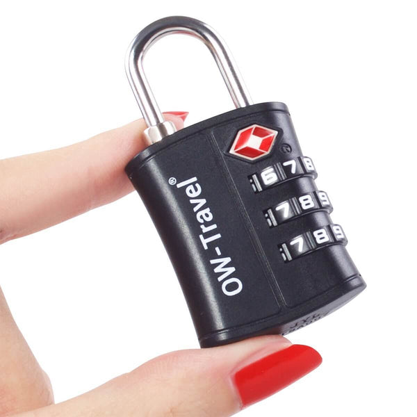 OW Travel TSA Approved Padlocks Luggage Case Locks for Suitcases, Backpacks, Gym Locker - 3 Dial Padlock Black + 3 Luggage Tags - Won't Jam Easy Move Dials 3 Dial Padlock Luggage Tag