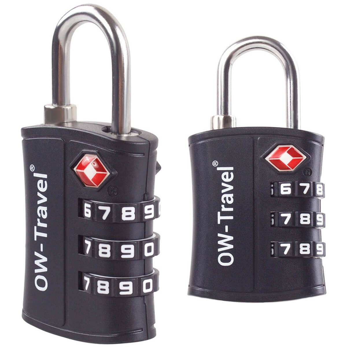 OW Travel TSA Approved Padlocks Luggage Case Locks for Suitcases, Backpacks, Gym Locker - 3 Dial Padlock Black 2 Pack - Heavy Duty 3 Dial Padlock