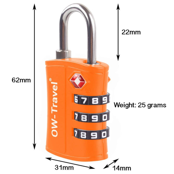 OW Travel TSA Approved Padlocks Luggage Case Locks for Suitcases, Backpacks, Gym Locker - 3 Dial Padlock Orange - 3 Dial Padlock Dimensions