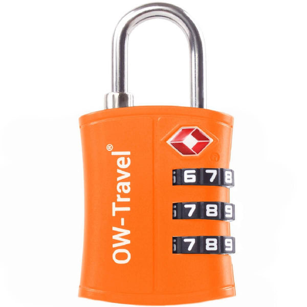 OW Travel TSA Approved Padlocks Luggage Case Locks for Suitcases, Backpacks, Gym Locker - 3 Dial Padlock Orange - Bigger Numbers Quickly Reset Pass Code